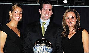Sofia Bekatorou (left), Ben Ainslie and Emilia Tsoulfa receive their awards