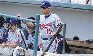 Felipe Alou looks on from the Montreal Expos bench