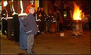 Robert Simpson pickets alongside his father John at Peckham fire station