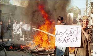 Supporters of Aimal Kansi protest in Quetta, Pakistan