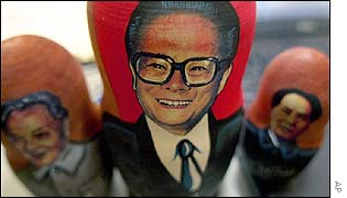Deng Xiaoping, Jiang Zemin and Mao Zedong on Russian-style Matryoshka dolls
