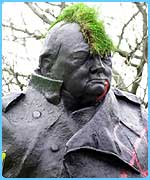A vandalised statue of Winston Churchill