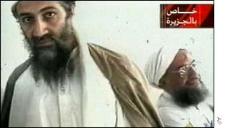 Bin Laden with Ayman al-Zawahri in a freeze frame from Al-Jazeera