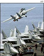 An F-14 Tomcat takes off in the Gulf