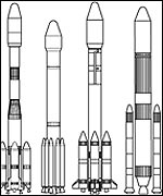 various rockets to launch satellites