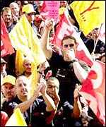 Firefighters at strike rally