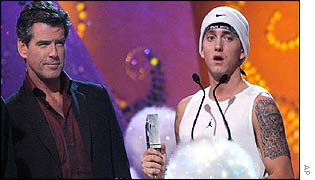 Eminem and Pierce Brosnan at the MTV Europe Music Awards