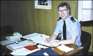 Eric Brandon at Fulwell Fire Station in the 1970s