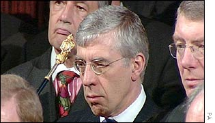 Foreign Secretary Jack Straw listens to the Queen's speech