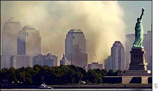 Smoke over Manhattan after attack on World Trade Center