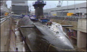HMS Vanguard in dry dock