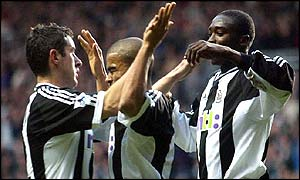 Newcastle celebrate the equalising goal
