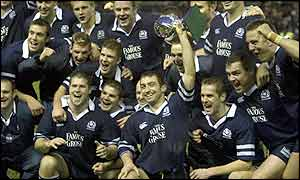 Scotland's players celebrate victory against South Africa