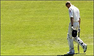 Flintoff is a familiar sight as he heads for the pavillion once again after a cheap dismissal