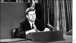 President Kennedy announcing a naval blockade at the time of the Cuba missile crisis