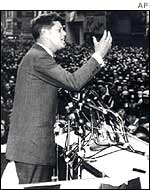 JFK giving a speech in 1961