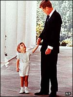 John F Kennedy and his son John in the White House