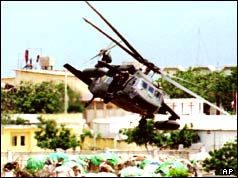 US Blackhawk helicopter in Mogadishu