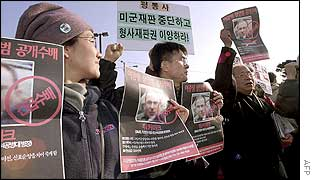 Anti-US demonstration at Camp Casey, a US military base in Uijongbu north of Seoul, 18 November 2002.
