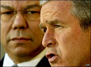US Secretary of State Colin Powell and US President George W Bush