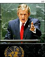 US President George W Bush addresses the United Nations
