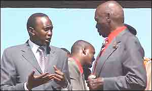 Uhuru Kenyatta (left) and President Moi (right)