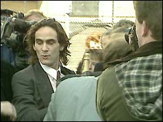 Paul Hill leaving Appeal Court after being freed in 1989