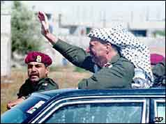 Photo of Yasser Arafat returning to the Gaza Strip