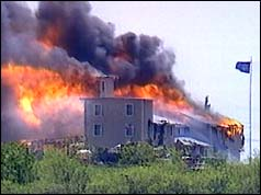 Branch Davidians' compound ablaze