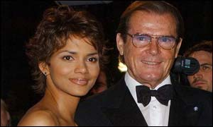 New Bond girl Berry and former Bond Roger Moore reflected the past and present of 007