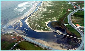 This aerial view shows the north-western beach of Barranan covered with oil