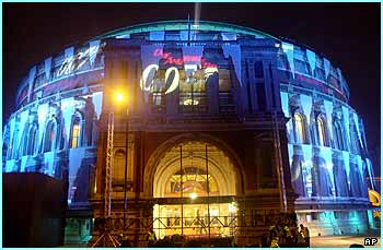 The premiere was at the Royal Albert Hall, which had also dressed up for the event