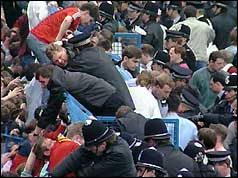 Police try to help trapped Liverpool fans