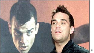 Robbie Williams launching his new EMI album Escapology