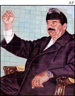 Portrait of Saddam Hussein in Baghdad