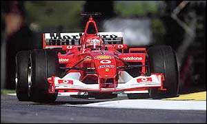 Michael Schumacher on his way to victory in San Marino this season