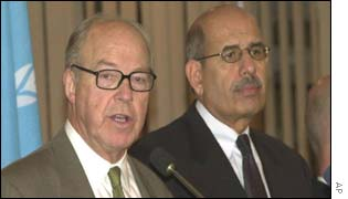 United Nations Chief Weapons Inspector Hans Blix, flanked by International Atomic Energy Agency head Mohamed El Baradei