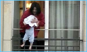 Michael Jackson with his baby