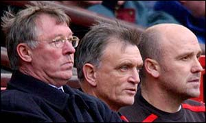 From left to right: Man Utd manager Sir Alex Ferguson, coach Jim Ryan and Mike Phelan