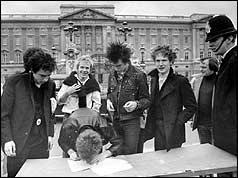Sex Pistols sign contract with A&M outside Buckingham Palace