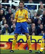 James Beattie celebrates putting Newcastle in front at St James' Park