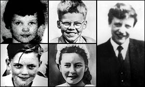 Hindley and Brady's victims, clockwise from top left: Lesley-Ann Downey, Keith Bennett, Edward Evans, Pauline Reade, John Kilbride, who was killed by Brady alone.