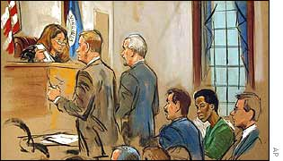 Artist's impression of courtroom, with Malvo in green