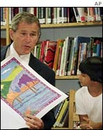 President Bush reads at a school