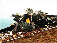 Wreckage from the Chinook crash
