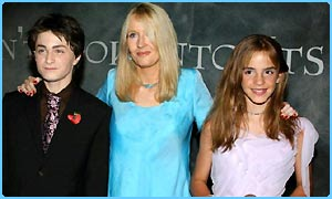 JK Rowling with the young stars of the Chamber of Secrets