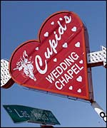 LA wedding chapel sign, BBC