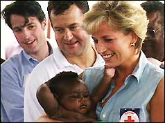 Paul Burrell (centre) with Princess Diana