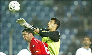 Wales captain Gary Speed attacks the Azerbaijan goal again but fails to score this time