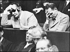 Hess, top right, at the Nuremburg War Crimes trial, September 1946.